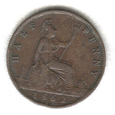 1862 British Half Penny Near Full Shield