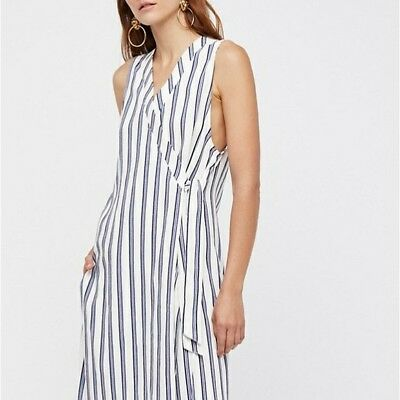 New Free People Tuxedo Stripe 2 pc Set BLUE Small Retail $148