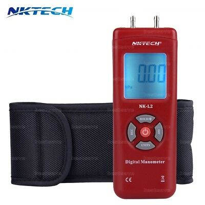 NKTECH NK-L2 Digital Manometer Differential Air Pressure Meter Gauge ±2Psi Red