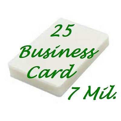 Business Card 7 mil 25 PK  Laminating Laminator Pouches Sheets  2-1/4 x 3-3/4