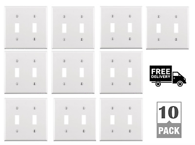 2 Gang Toggle White Wall Plate w/ Metal Mounting Screws, Home Decor, Pack of 10