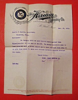 Scarce Antique 1911 Hamm's Beer Brewing Company Letter ~ Virginia Chisholm Minn