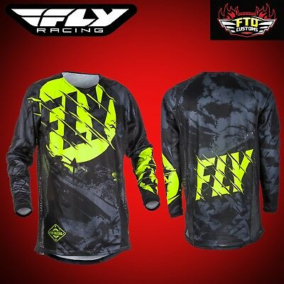 Fly Racing Kinetic Outlaw Motocross Jersey Black & HI-Vis Youth-Adult Sizes