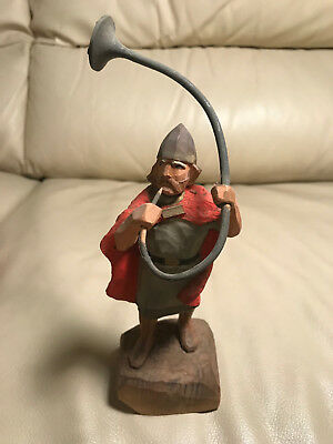 "Vintage Henning Norway Wood Carving ""Hun Soldier With Horn"""