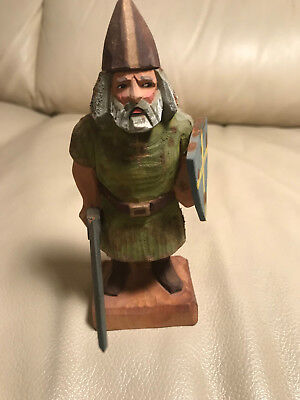 "Vintage Henning Norway Wood Carving ""Hun Soldier With Sword And Shield"" #1"