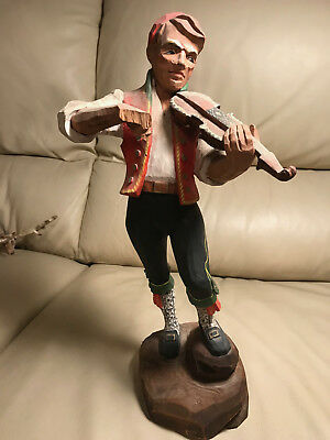 "Large Vintage Henning Norway Wood Carving ""Man Playing Violin"""