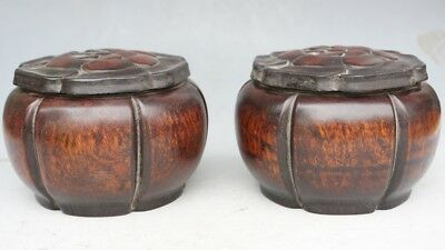 Chinese Exquisite Hand-carved Wooden pots A pair