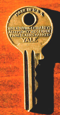 Vintage Yale & Towne Brass Padlock Key with Yale Ad on Reverse Side