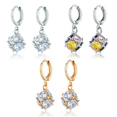 Dangle Ball Diamond Sapphire Silver & Yellow Gold Filled Lady Jewelry Earrings