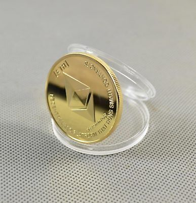 Gold Plated ETH Commemorative Collectible Golden Iron Ethereum Miner Coin Gift