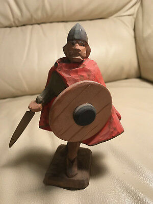 "Vintage Henning Norway Wood Carving ""Hun Soldier With Sword And Shield"" #2"