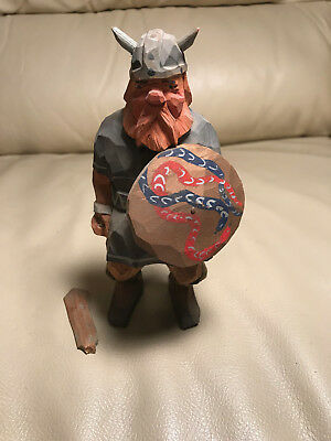 "Vintage Wood Carving ""Hun Soldier With Sword And Shield"" Henning?"