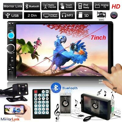 """7"""" HD Double 2DIN Car MP5 MP3 Player Bluetooth Touch Screen Stereo Radio +Camera"""