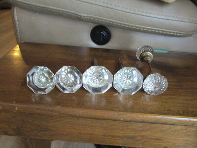 3 Sets of Starburst Vintage Glass Door Knobs With Metal Bars- 6 Door Knobs