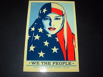 """SHEPARD FAIREY Obey Giant Sticker 3.5X5.25/"""" WE THE PEOPLE PROTECT poster print"""