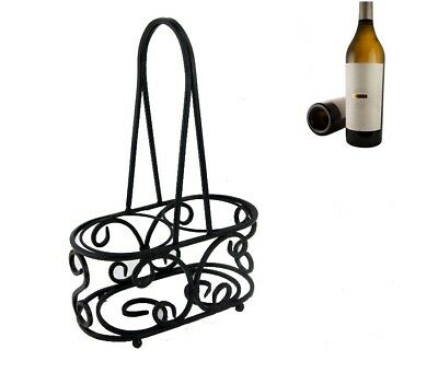 2 Bottle Rack Holder Carry Wrought Iron Wine Carrier Display Stand Free Standing