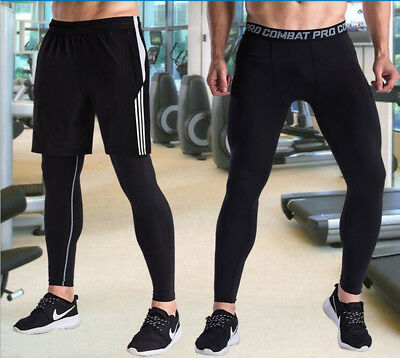 Men's Compression Leggings Running Fitness Training Gym Base Layers Tight Pants
