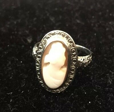 Vintage Antique Art Nouveau Cameo 14KT White Gold Cocktail Rings