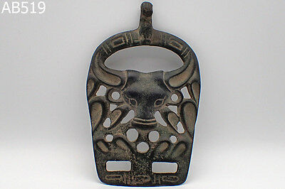 Ancient Bactrian Bronze Battle Pendant With Bull Head #519
