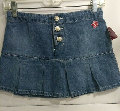 New Girl's Faded Glory blue jean denim scooter Skirt Size 12 pleated cotton