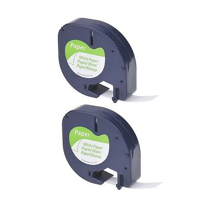 "2PK Paper Label Tape for DYMO Letra Tag LT100T LT 91330 Black on White 1/2"" 12mm"