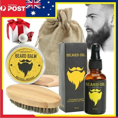 5Pcs/Set Beard Balm Oil Comb Mustache Grooming Set Home & Travel Hair Kit Gift