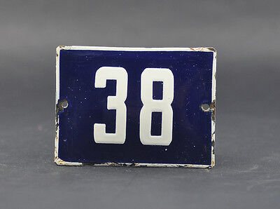 OLD FRENCH HOUSE NUMBER SIGN door gate PLATE PLAQUE Enamel steel metal 38 Blue