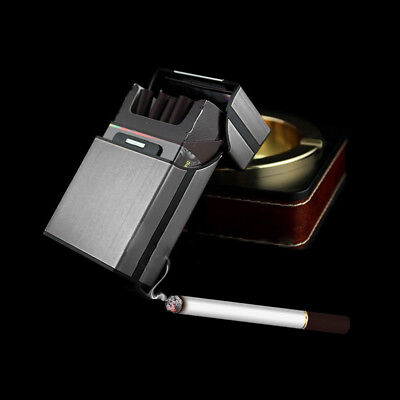New Black Aluminum Metal Cigar Cigarette Box Holder Pocket Tobacco Storage Case