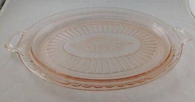"Anchor Hocking Pink Mayfair Open Rose 14"" platter tray"
