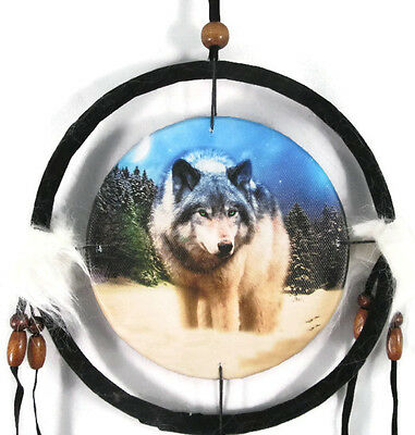 "6.5"" Wolf In Snow Dream Catcher With Beads,Fur & Feathers Wall Or Decoration"
