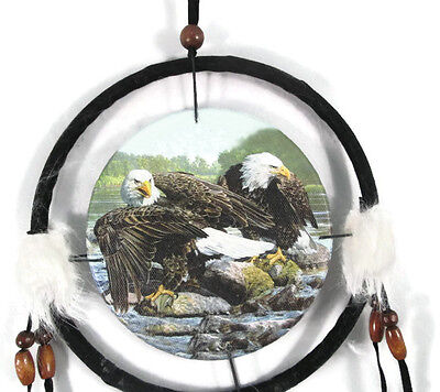 "6.5"" Sitting Eagles Dream Catcher With Beads,Fur & Feathers Wall Or Decoration"