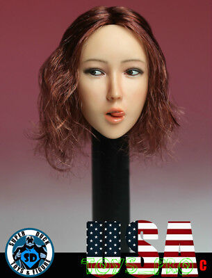 1//6 Female Head Sculpt with Tongue B Long Brown Hair For Phicen PALE Figure USA