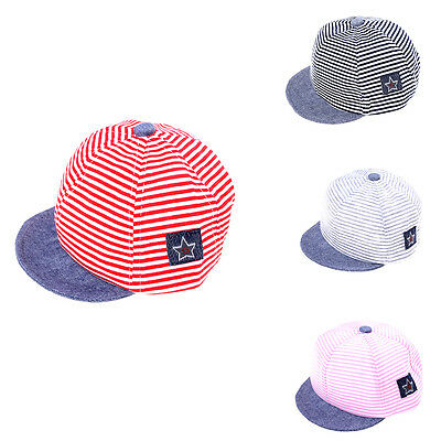 Cotton Casual Striped Soft Eaves Baseball Cap Baby Boy Girls Beret Sun Hat