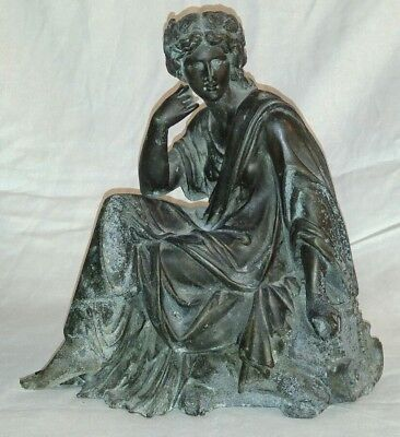 "Antique Spelter Roman Woman Mantle Clock Topper Pot Metal Statue 10"" Tall"