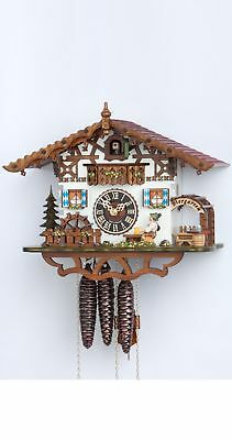 Cuckoo Clock Swiss house with moving beer drinker and mill wheel HO 665M NEW
