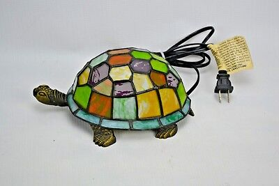 Tiffany Style Stained Glass Turtle Lamp Accent Night Light Desk Beach Decor