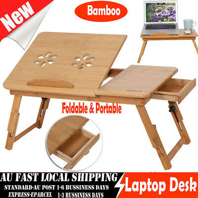 Portable Foldable Bamboo Laptop Computer Desk Table Tray On Bed Mouse Holder NEW