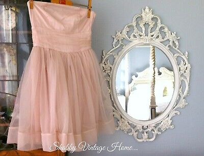 Large Ornate Mirror Rococo Style Painted Resin Shabby Chic Antique White