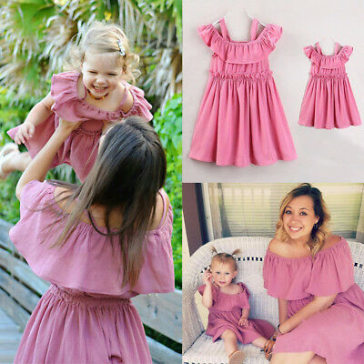 Fashion Mother Daughter Dress Party Off Shoulder Women Girls Matching Set Outfit