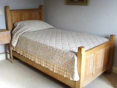 Heals Limed Oak Large Single Bed, Deep Sprung Base Two Available Arts And Crafts