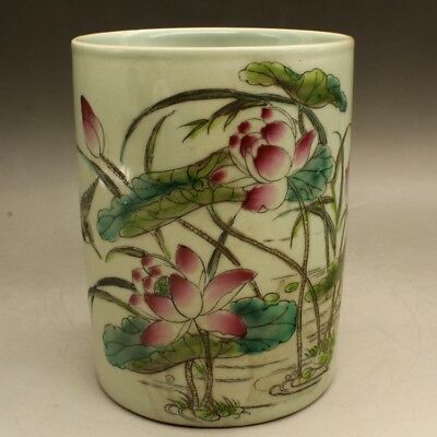 Chinese old porcelain Hand painted famille rose lotus pond brush pot