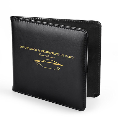 Slim Thin Leather Wallet Holder For Auto Car Insurance Registration ID Card Case