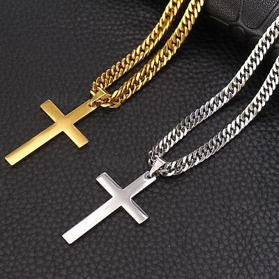 Popular Sale Mens Boys Silver/Gold Stainless Steel Cross Pendant Link Necklace