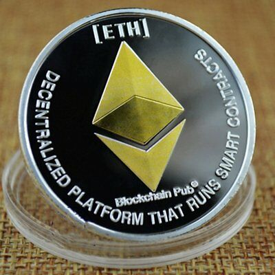 1x Gold Silver Plated Physical Commemorative Collectible ETH Ethereum Miner Coin