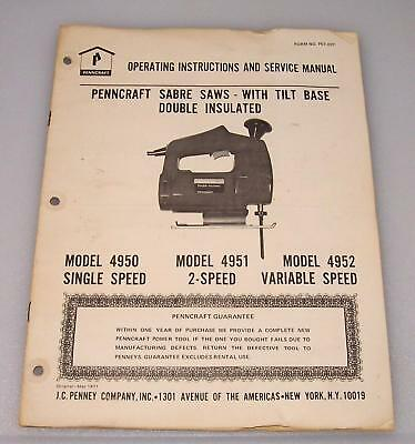 PENNCRAFT Sabre Saw Owners Manual ~ Models 4950/4951/4952