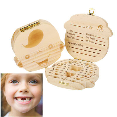 Wooden Tooth Storage Box Small Kids Childs Keepsake Baby Teeth Kids Organizer UK