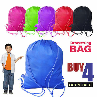 Draw String Drawstring Bag Shoe Sports Gym PE Dance School Backpack Swim Shoulde