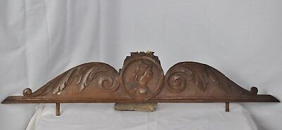 US0089  Antique pediment French Hand Carved Walnut