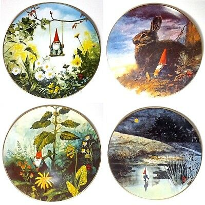 Rien Poortvliet GNOMES Collector Plates Four Seasons: Spring,Summer,Fall,Winter
