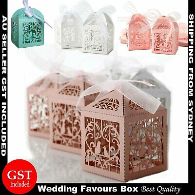 10-100Pcs Wedding Laser Cut Candy Box Gift Bag Party Baby Shower Case Ribbon Bow